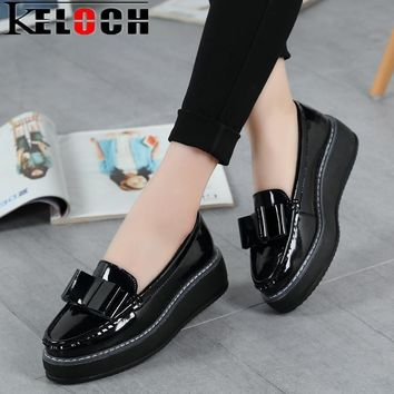 Keloch Women Summer Platform Shoes Creepers Loafers Moccasins Patent Leather Slip On C