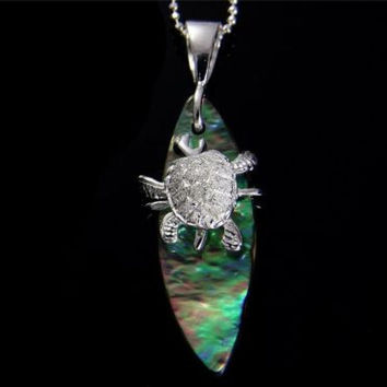 ABALONE PAUA SHELL SURFBOARD SILVER 925 HAWAIIAN MOVING SEA TURTLE PENDANT