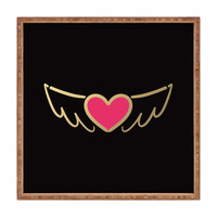 Lisa Argyropoulos On Golden Wings of Love Square Tray