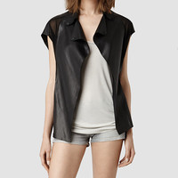 Womens Payne Leather Biker jacket (Black) | ALLSAINTS.com