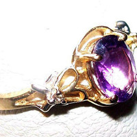 Amethyst Oval Ring 10K Yellow Gold Signed 1.50 Ct Accent Diamonds Sz 6 1/2 Vintage