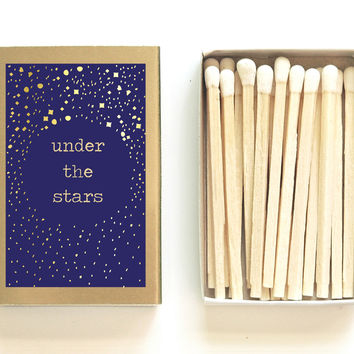 Under the Stars Matchbox - Starry Night Decor - Unique Gift - Wedding Matchboxes - My Moon and Stars - Stargazing - Light a Stellar Spark
