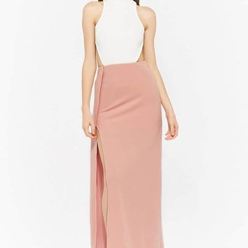 Contrast Halter Maxi Dress