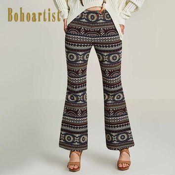 Women Full Pants Autumn Geometric Print Flare Pants Casual Ladies Bohemian Slim Blue Trousers