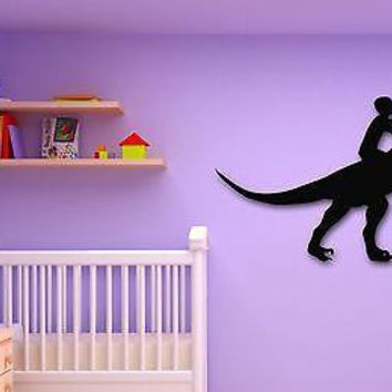 Wall Stickers Vinyl Decal Boy Riding a Dinosaur for Kids Room Nursery Unique Gift (ig804)