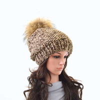 Chunky Slouchy Woman Knit Hat Beanie Toque with Large Fur Pom Pom | The Charlotte