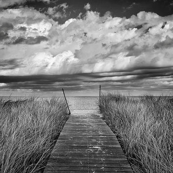 Martha's Vineyard Photography Limited Edition Print Black and White Beach Photo Oak Bluffs Beach Boardwalk Path Dunes Grass Wall Art Decor