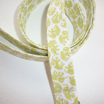 Fabric Lanyard / ID Holder with key ring - Lime Green Elephants