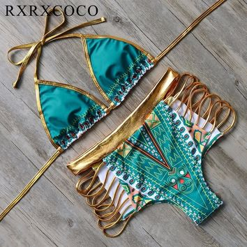 High Waist Gold Tone Bathing Suit