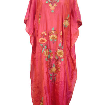 Boho Kaftan Caftan Kashmiri Embroidered Coral Pink Silk Kimono Kaftans Maxi Dress Xl
