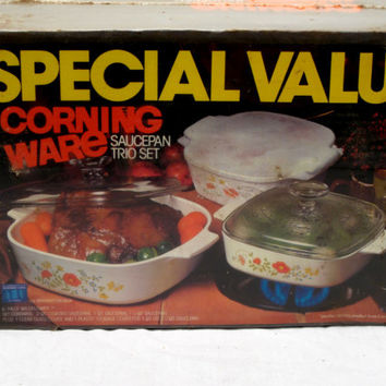 Corningware, Casserole, Sauce, Bake, Floral, Dish, Set, Covered, Lid, Kitchenware, Bakeware, Microwave, Pan, Stove Top, Oven, Cookware, New