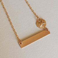 14K Gold filled Bar necklace/ sand dollar/ personalized bar/ hand stamped/ beach / mom / names / dates / gift / stamped