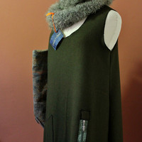 Green Wool Pinafore Dress, Felt Sleeveless Women's Dress, Winter Green Dress