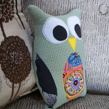 Whooty Owl - Plush Owl Pillow Doll - Earthy Colors, Recycled Fabrics