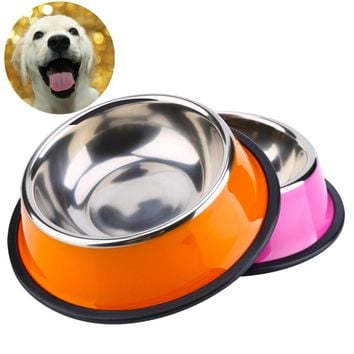 Dog Bowl Stainless Steel Anti-skid Pet Dog Cat Food Water Bowl Pet Feeding Bowls XS-L For Pet Food Water Feeder