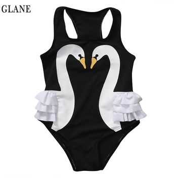 2-7T  One Piece  Toddler Baby Girls Kids Swan Bikini Ruffles Swimsuit Bathing Suit Swimwear Beachwear  2017 Summer Swim Suit