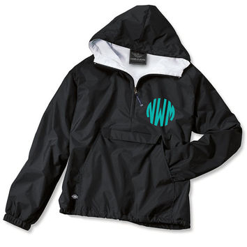 YOUTH Monogrammed Personalized Black Quarter Zip Rain Jacket Pullover - 6 colors