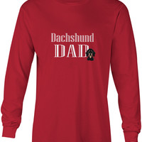 Smooth Black and Tan Dachshund Dad Long Sleeve Red Unisex Tshirt Adult Small BB5223-LS-RED-S
