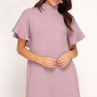 She + Sky Flounce Sleeve Dress -Light Mauve