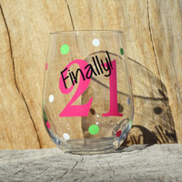 Personalized Stemless Wine Glass- Finally 21 - 21st Birthday- Milestone Birthday