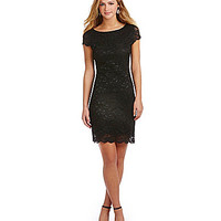 Jump Cap-Sleeve Scalloped Lace Dress - Black