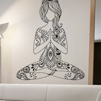 Meditating Yoga Wall Decal Flower namaste Vinyl Sticker Art Decor Bedroom Design Mural flower Buddha namaste yoga living room