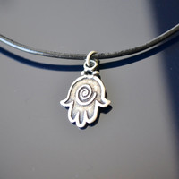 Unisex hamsa charm leather necklace. Good like gift for him or her.