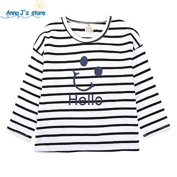 Boys girls T shirt Children Clothing shirt Boys Long Sleeve Tops stripe letter Tee Kids T-shirts for Boy Sweatshirt