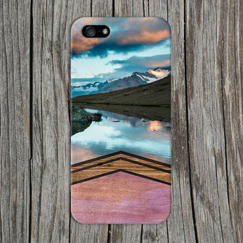 Watercolor Chevron Wood x Mountain Lake Phone Case for iPhone 6 6 Plus iPhone 5 5s 5c 4 4s Samsung Galaxy s6 s5 s4 & s3 and Note 5 4 3 2