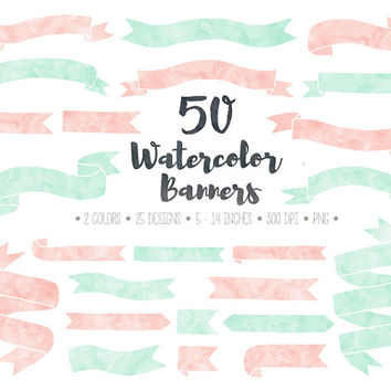 SALE. Watercolor Banners Clip Art. Hand Drawn Doodle Ribbon Banners. Pink and Mint Banners & Corners. Pastel Watercolor Banner Clip Art.