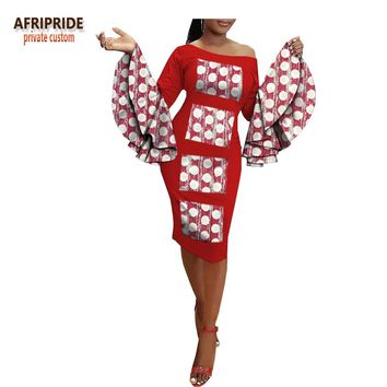 2018 summer african style casual women dress AFRIPRIDE full flare sleeve slash neck knee-length pencil dress for women A1825034