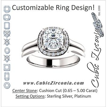Cubic Zirconia Engagement Ring- The Elaine Li (Customizable Cushion Cut Style with Halo, Wide Split Band and Euro Shank)