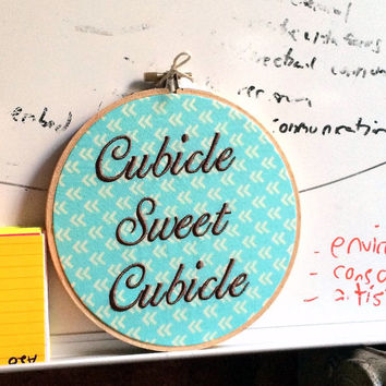 "Cubicle Sweet Cubicle - 6"" Needlepoint - Fun Gift for Office Coworker"