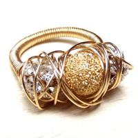Gold Sparkle Ring:  Wire Wrapped Cocktail Jewelry, Elegant Rhinestone Statement Piece, Size 6