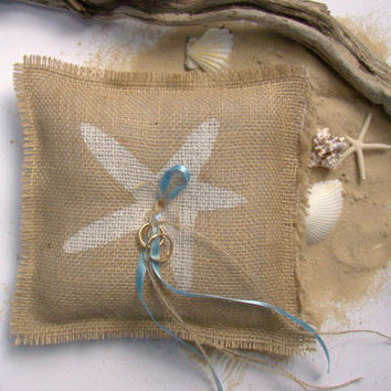 Ring Bearer Pillow, Beach Wedding, Burlap Ring Pillow, Destination Wedding, Starfish, Natural, Wedding Ring Pillow, Ring Bearer, Beach Decor