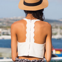 Keely White Scallop Crop Top by LUSH