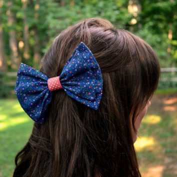 Cotton patterned hair bow