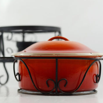 Flame Orange Enameled Cast Iron Lidded Casserole Dish on Stand, Vintage Red Enamel Fondue Pot, Enamel Baking Dish, Vintage Kitchen Dish