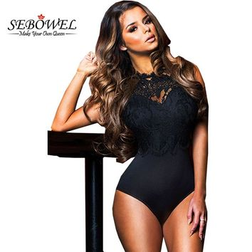 SEBOWEL New Sexy Women Jumpsuit Black Bodysuit Female Sleeveless Lace High Neck Bodycon Shorts Playsuits Cut Out Back Bodysuits