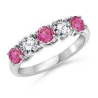 Round Pink Sapphire and Diamond Five Stone Ring