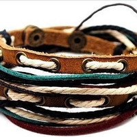 Adjustable leather bracelet punk bracelet  woven bracelet men bracelet women bracelet made of ropes metal and leather cuff bracelet SH-1764
