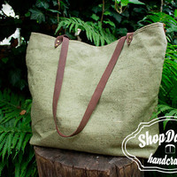 Canvas Bag, With Leather Handles, Light Green Tote Bag, Summer Tote, Every Day Bag