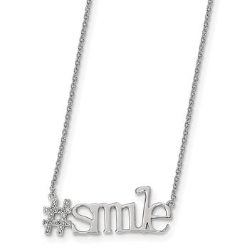 Sterling Silver Rhodium-plated CZ 18in Hashtag Smile Necklace QG4398