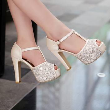 Fashion T Buckle Waterproof Platform Fish Mouth Heels Shoes