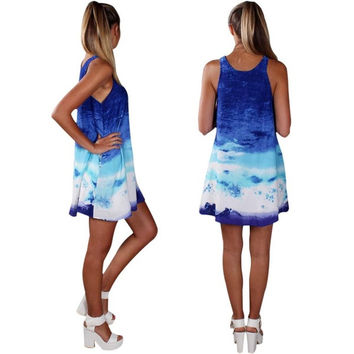 Ladies Women Sleeveless Gradient Mini Sundress Blue Straight Dress = 1904597252