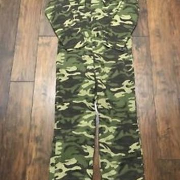 Vintage Safari Club Army Camouflage Camo Hunting Jumpsuit Coveralls Mens Medium