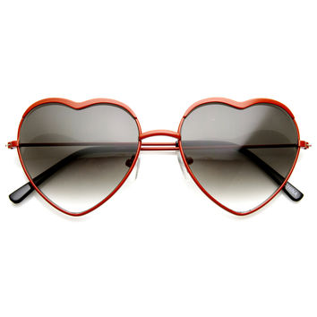 Colorful Womens Metal Heart Shape Sunglasses 8826