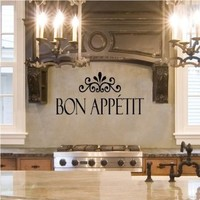 Bon Appetit vinyl kitchen lettering wall sayings home decor art sticker (Black, 10x27)