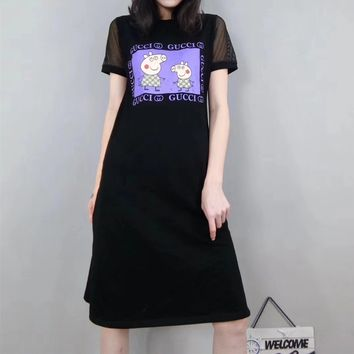 """Gucci x Peppa Pig"" Women Casual Fashion Letter Cartoon Pattern Print Gauze Short Sleeve Middle Long Section T-shirt Dress"
