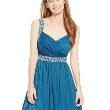 B Darlin Juniors' Embellished Surplice Party Dress